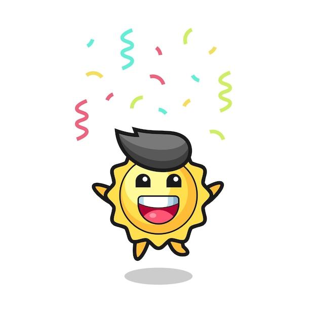 Mascotte de soleil heureux sautant pour félicitation avec des confettis de couleur, design de style mignon pour t-shirt, autocollant, élément de logo