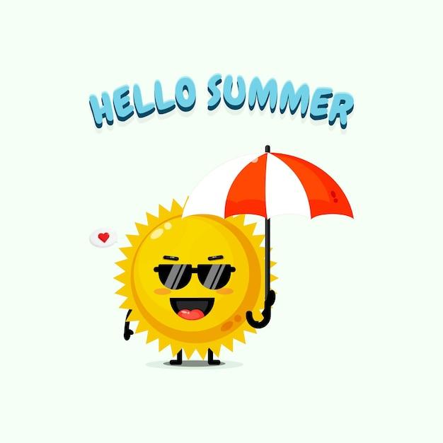 Mascotte de soleil mignon portant un parapluie avec des salutations d'été