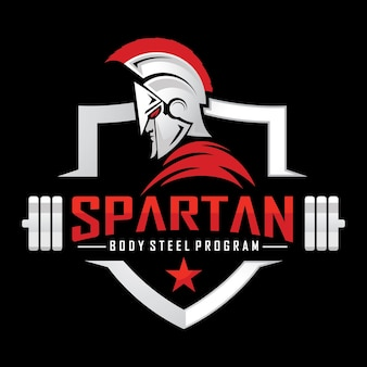 Mascotte spartan warrior fitness logo vecteur
