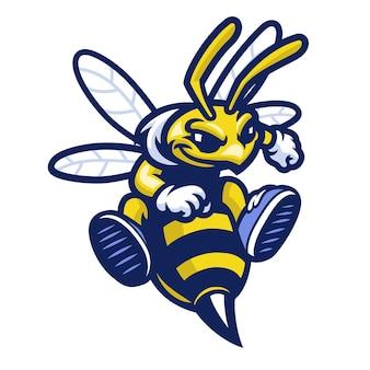 Mascotte de sport d'abeille de dessin animé