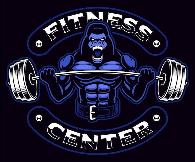 Mascotte de sport avec un bodybuilder de gorille avec haltères sur le fond sombre. le texte est sur le groupe séparé et il est facilement amovible.