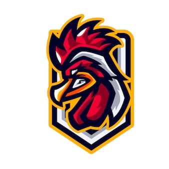 Mascotte de sport coq de poulet en colère