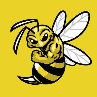 Mascotte de sport musculaire d'abeille