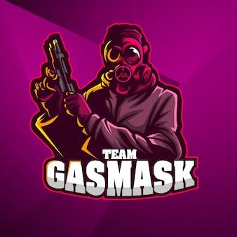 Mascotte sportive logo design modèle vectoriel esport soldat mitrailleur masque à gaz tireur