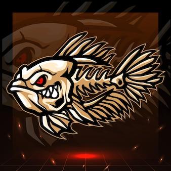 Mascotte de squelette de poisson betta. création de logo esport