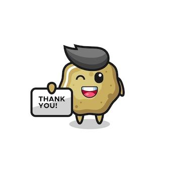 La mascotte des tabourets lâches tenant une bannière qui dit merci, design de style mignon pour t-shirt, autocollant, élément de logo