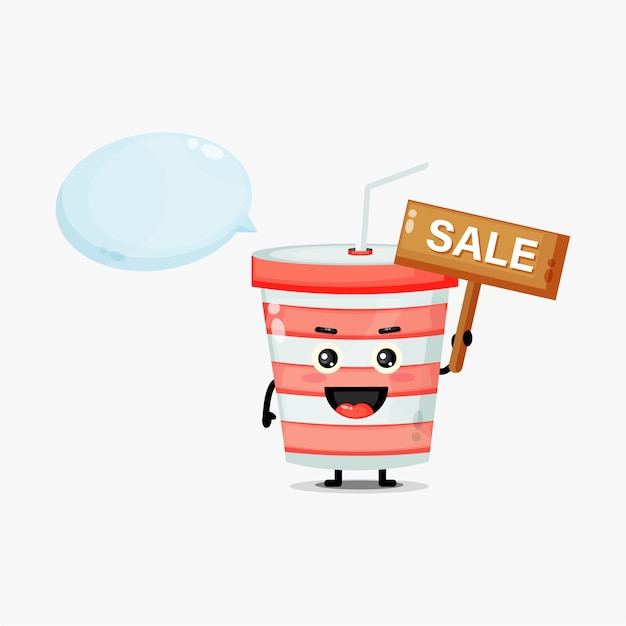 Mascotte de tasse de soda mignon avec le signe de vente