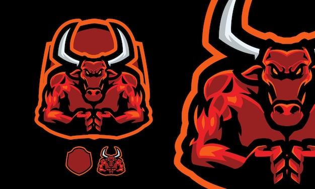 Mascotte de taureau en colère avec un ensemble de muscles impressionnant