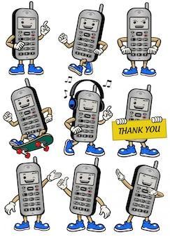 Mascotte de téléphone portable dans diverses poses