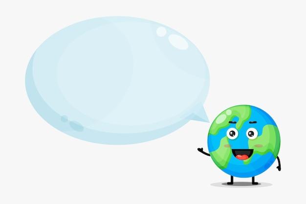 Mascotte de terre mignonne avec discours de bulle