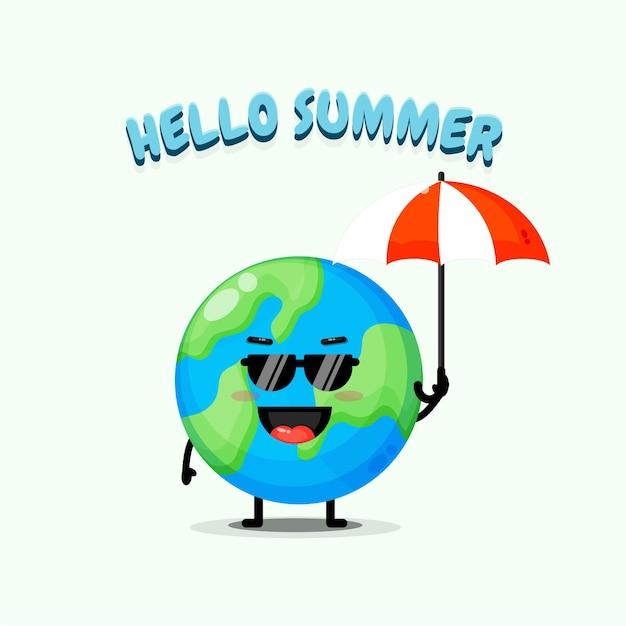 Mascotte de terre mignonne portant un parapluie avec des salutations d'été