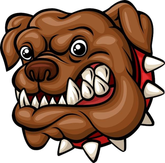 Mascotte de tête de bouledogue dessin animé en colère