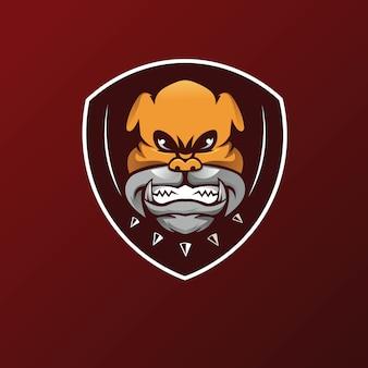 Mascotte de tête en colère de l'équipe bulldog esport