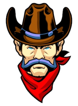 Mascotte tête de cowboy avec bandana