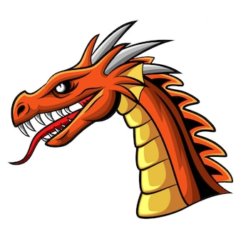 Mascotte de tête de dragon en colère de dessin animé