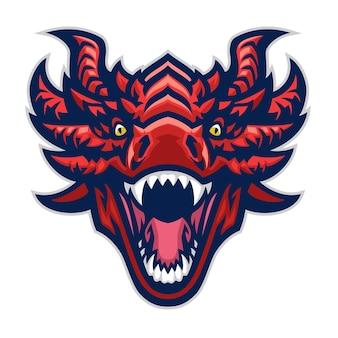 Mascotte de tête de dragon en colère