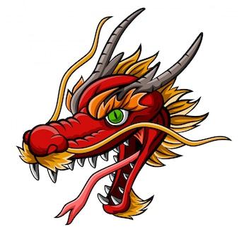 Mascotte de tête de dragon rouge féroce de dessin animé