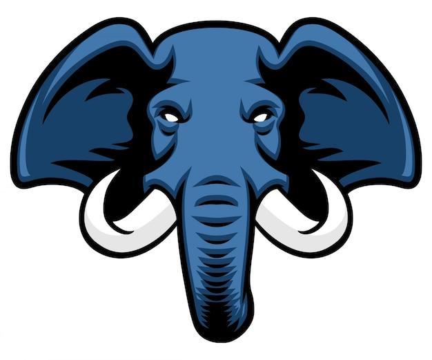 Mascotte tête d'éléphant avec ivoire