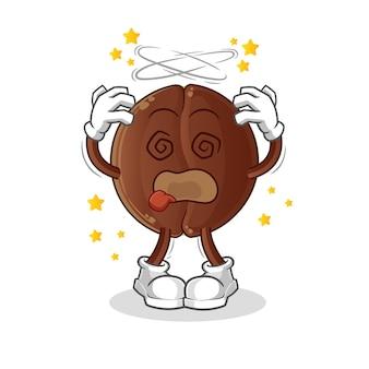 Mascotte de tête étourdie de grain de café. dessin animé