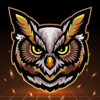 Mascotte de tête de hibou. création de logo esport
