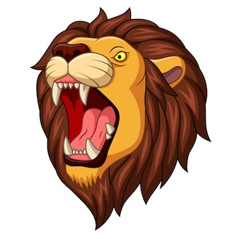 Mascotte de tête de lion en colère de dessin animé