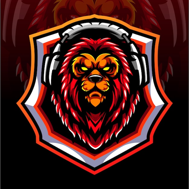 Mascotte de tête de lion. création de logo esport