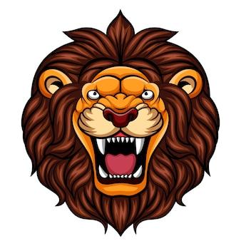 Mascotte de tête de lion de dessin animé en colère