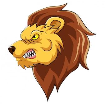 Mascotte de tête de lion d'illustration