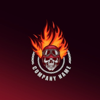 Mascotte de tête de mort crâne et logo de jeu e-sport