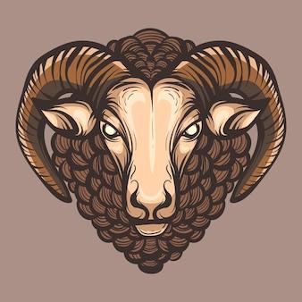 Mascotte de tête de mouton dessinée à la main. illustration clipart vectoriel.