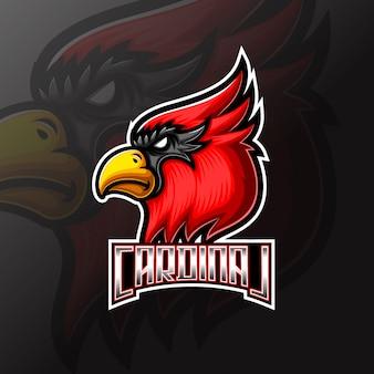 Mascotte de tête d'oiseau cardinal e logo de sport