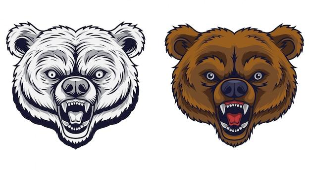 Mascotte tête d'ours en colère