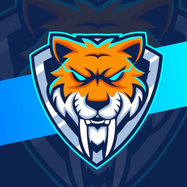 Mascotte de tête de sabertooth logo esport