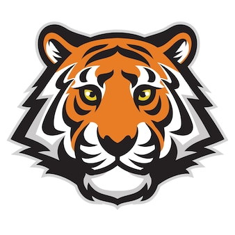 Mascotte de tête de tigre isolé sur blanc