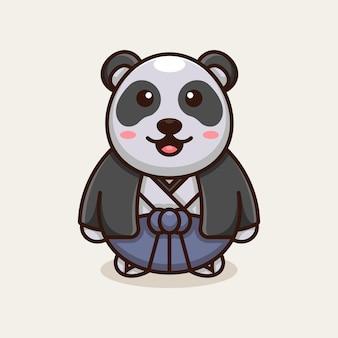 Mascotte à Thème Japonais Panda Vecteur Premium