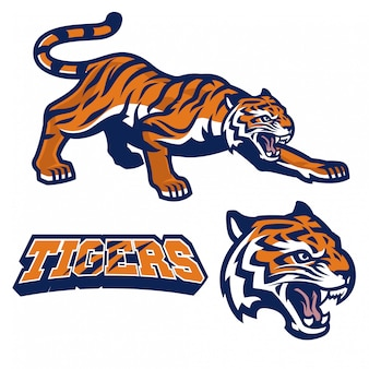 Mascotte de tigre accroupi dans un style logo sport