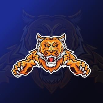 Mascotte de tigre avec griffe pour les jeux esport
