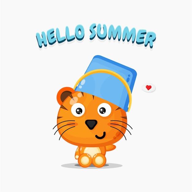 Mascotte de tigre mignon portant un chapeau de seau avec des salutations estivales