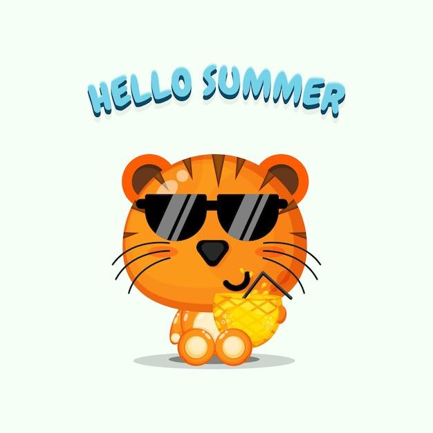 Mascotte de tigre mignon portant du jus d'ananas avec des salutations d'été