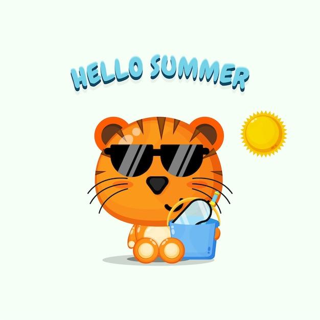 Mascotte de tigre mignon portant un seau avec des salutations d'été