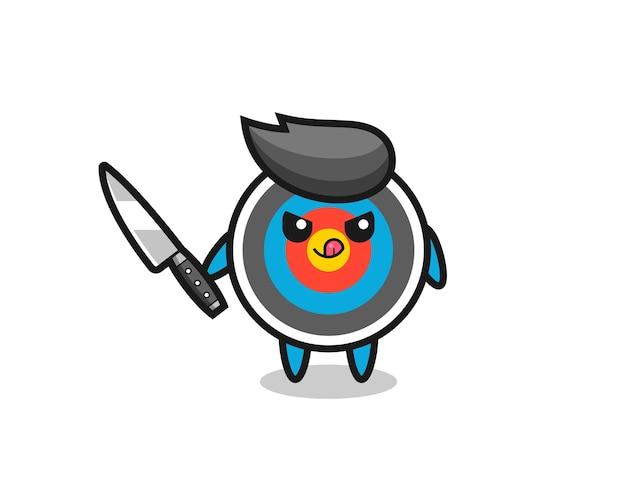 Mascotte de tir à l'arc cible mignonne en tant que psychopathe tenant un couteau, design de style mignon pour t-shirt, autocollant, élément de logo
