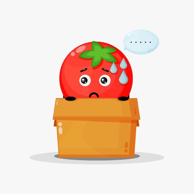Mascotte de tomate mignonne dans la boîte