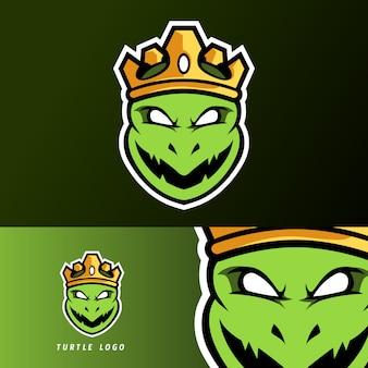 Mascotte de tortue roi ninja en colère, modèle de logo sport esport