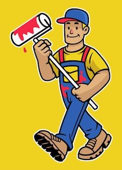 Mascotte de travailleur de peintre de mur heureux de dessin animé