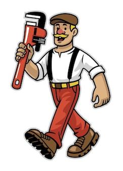 Mascotte de travailleur plombier heureux de dessin animé