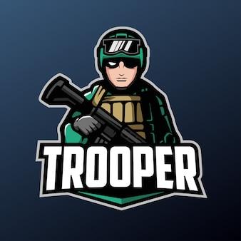 Mascotte trooper pour les sports et esports logo