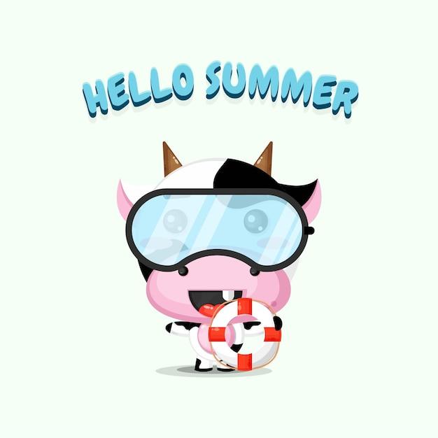 Mascotte de vache mignonne portant un char avec des salutations d'été