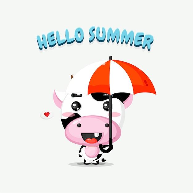 Mascotte de vache mignonne portant un parapluie avec des salutations d'été