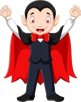 Mascotte de vampire heureux cartoon