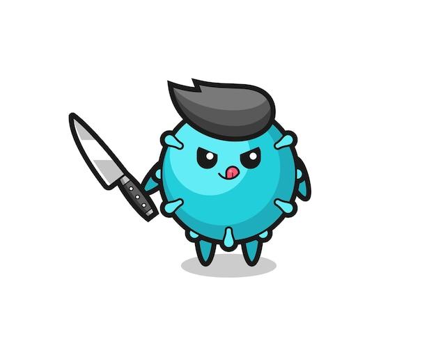 Mascotte de virus mignon en tant que psychopathe tenant un couteau, design de style mignon pour t-shirt, autocollant, élément de logo
